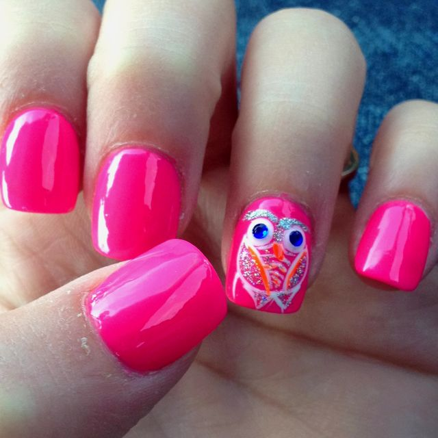 My new owl nails! :) La Vie nail spa did this in Johnson city mall ...