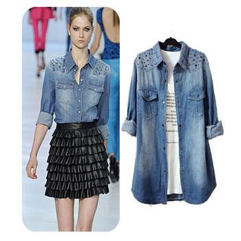 Fashion-women-blouses-rivet-denim-shirt-long-sleeve-all-matched ...