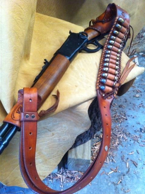 British Tan Hand Tooled Diamond Fire Design Leather Rifle Sling