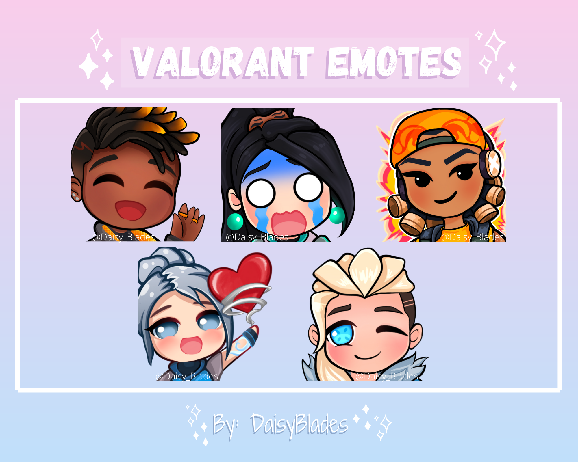 Premade Twitch Emotes 5 Valorant Characters Etsy In 2021 Cute Anime Character Twitch Character Design
