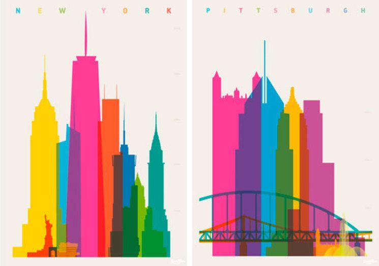 psters creados con las siluetas edificios emblemticos