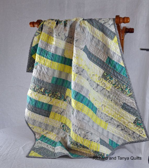 Modern aqua, gray, yellow, turquoise, and white diagonal quilt 39 inches by 49 inches