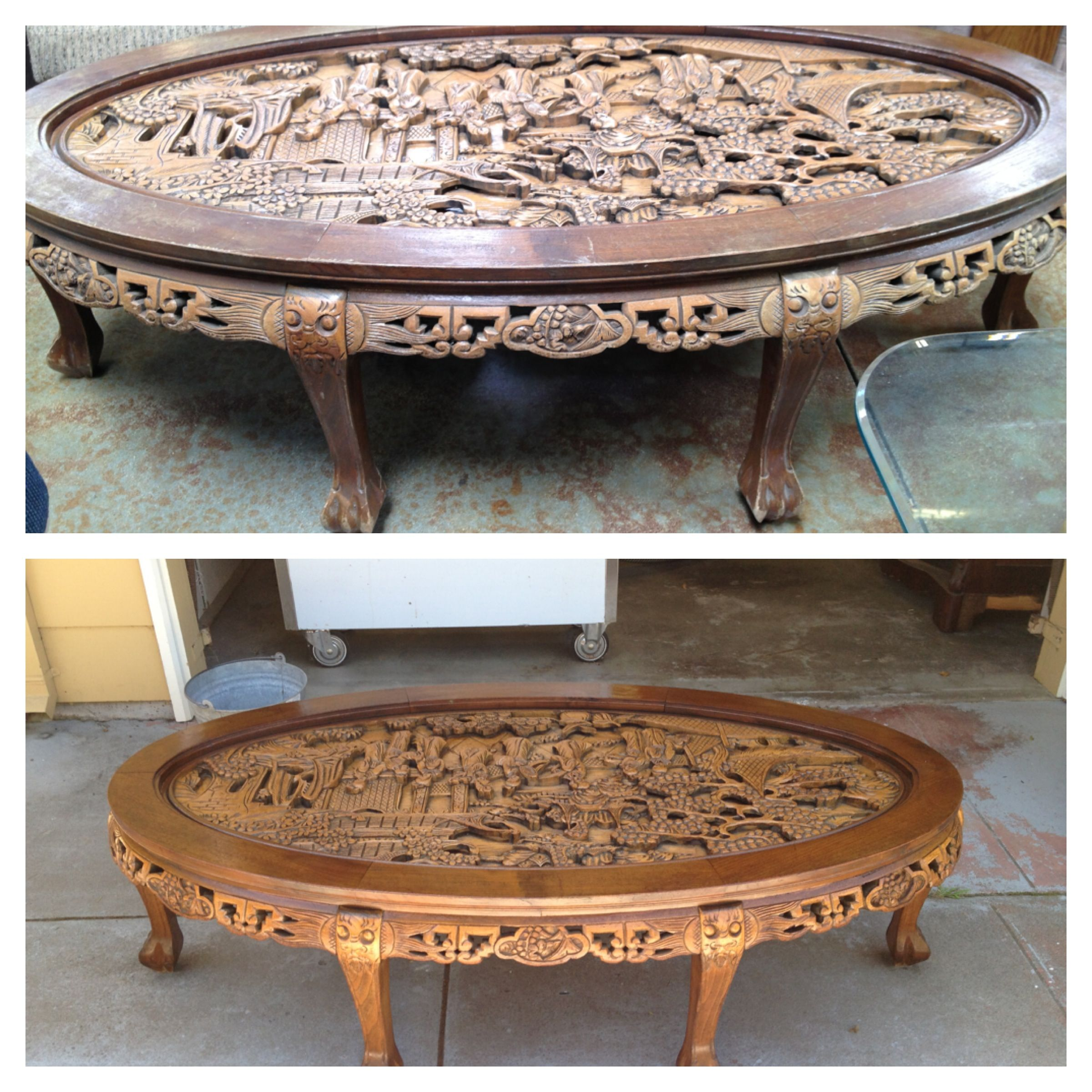 Chinese Relief Coffee Table: Solid Oak Carved Detail Coffee Table All That's Needed Is