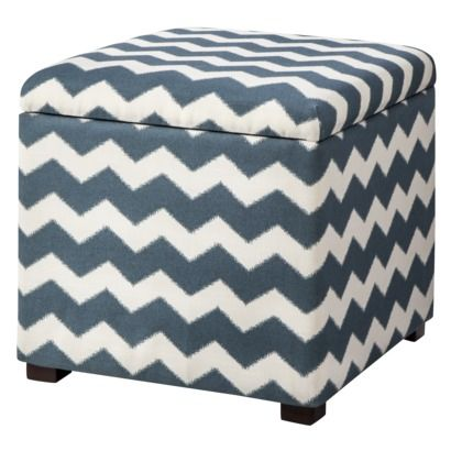 Threshold™ Single Square Storage Ottoman - Blue and White Chevron Right now  it's $69.99 and - Threshold™ Single Square Storage Ottoman - Blue And White Chevron