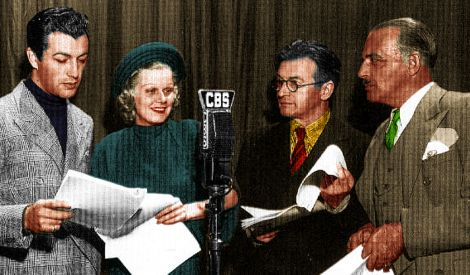 Another rare color shot of mid 1930s, movie stars at a radio show broadcast.  By: Dollface and Dapper vintage clothes, eBay and Etsy.