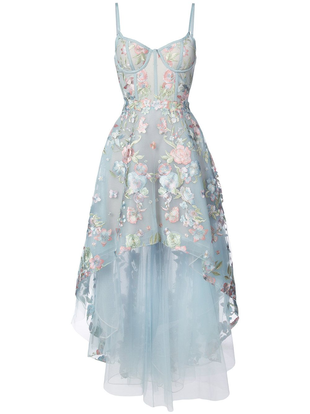 Marchesa notte floral embroidered highlow dress marchesa floral