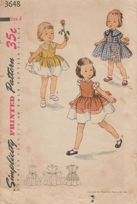 Simplicity 3648 / Vintage Childrens Sewing by studioGpatterns