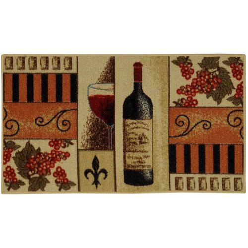 Found It At Wayfair Cucina French Wine Glass Cream Orange Kitchen Area Rug Wine Decor Kitchen Wine Theme