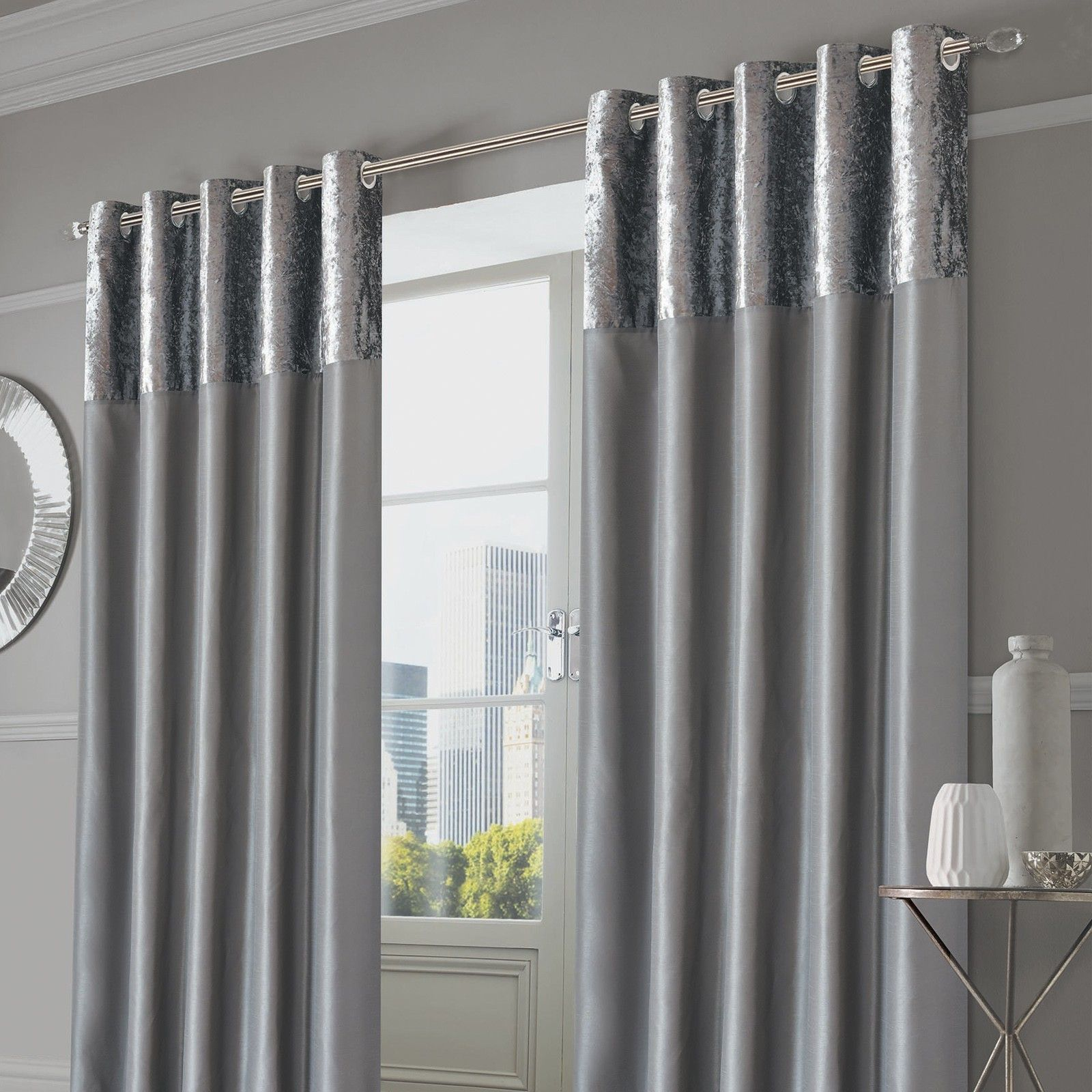 Sienna Home Crushed Velvet Band Eyelet Curtains Silver Grey Grey Curtains Living Room Curtains Curtains Crushed Velvet