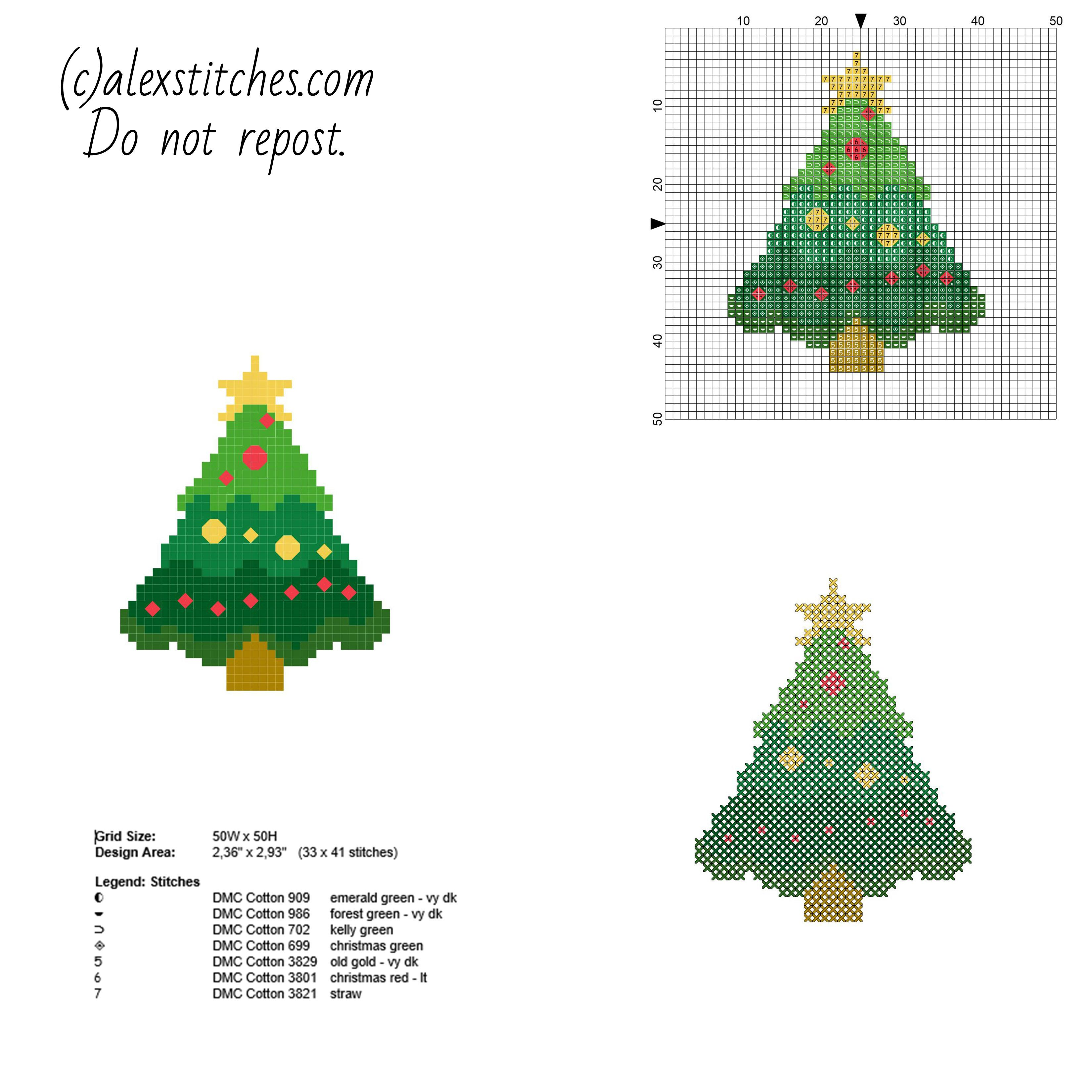 Small and simple cross stitch Christmas card with tree free pattern ...