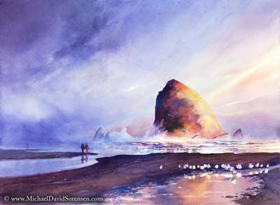 Sunset on Cannon Beach - watercolor painting by Michael David Sorensen