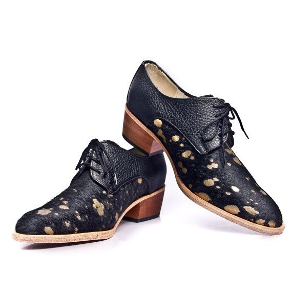 black and gold  hairy oxford shoes cuban heel  FREE by goodbyefolk, $280.00