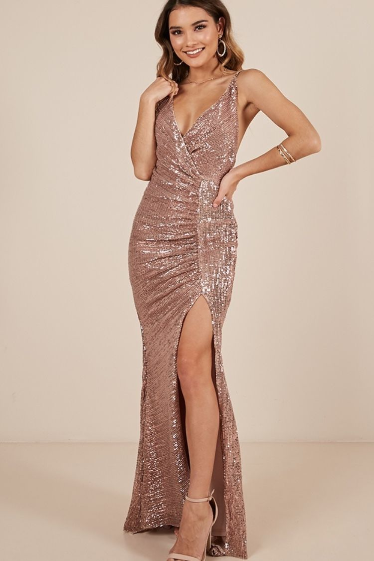 Special Moments Dress In Rose Gold Sequin Showpo Formal Occasion Dress Dresses Sparkly Dress [ 1125 x 750 Pixel ]