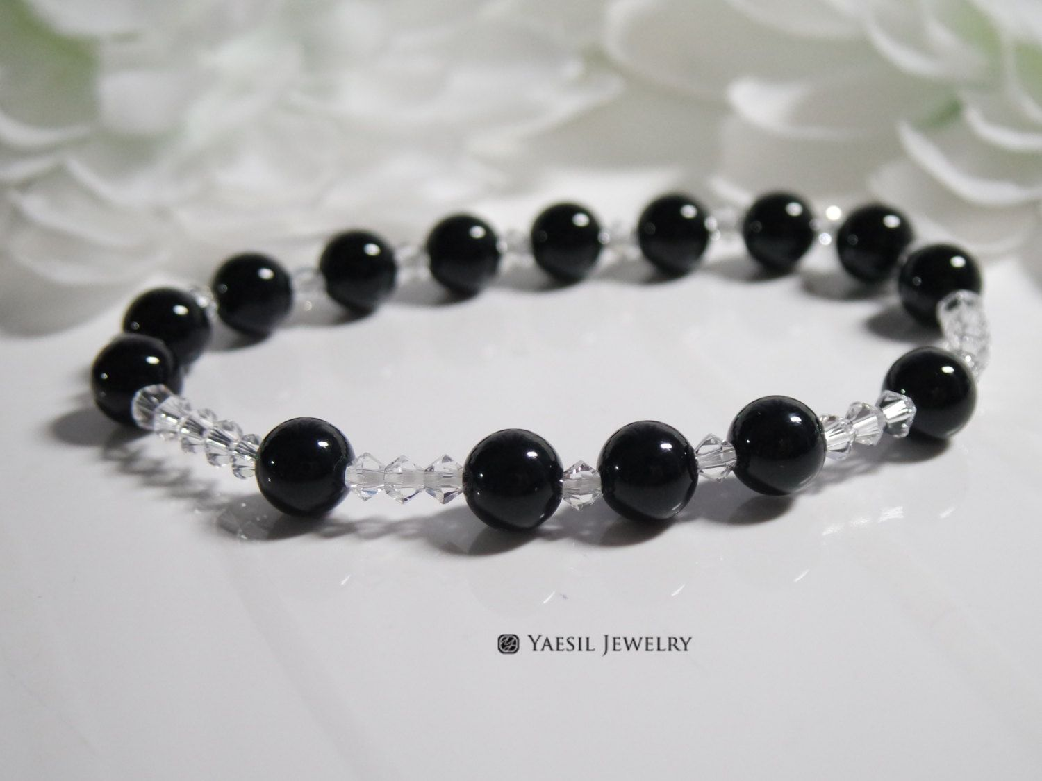 Rosary bracelet for women floating onyx rosary crystal and black