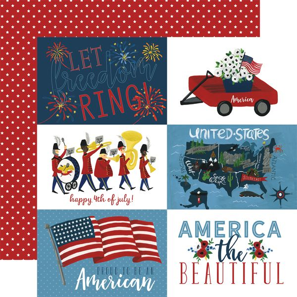 Celebrate America 4x6 Journaling Cards 12x12 Scrapbook Paper Echo