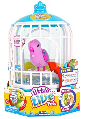 Little Live Pets Cage 2 Beauty Bella Bird Cage Your Pet Bird Will Respond To Touch Sing Record Sounds And Little Live Pets Pet Bird Cage Top Christmas Toys
