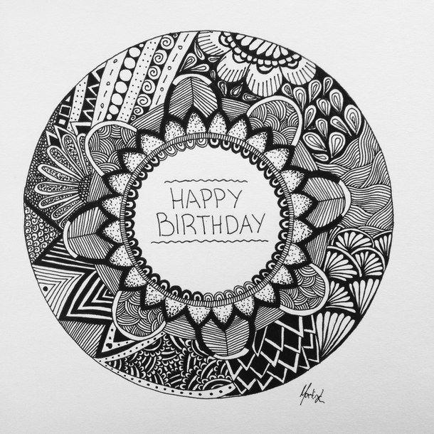 Artwork Birthday Card Black And White Circle Drawing Happy Mandala Art Flower