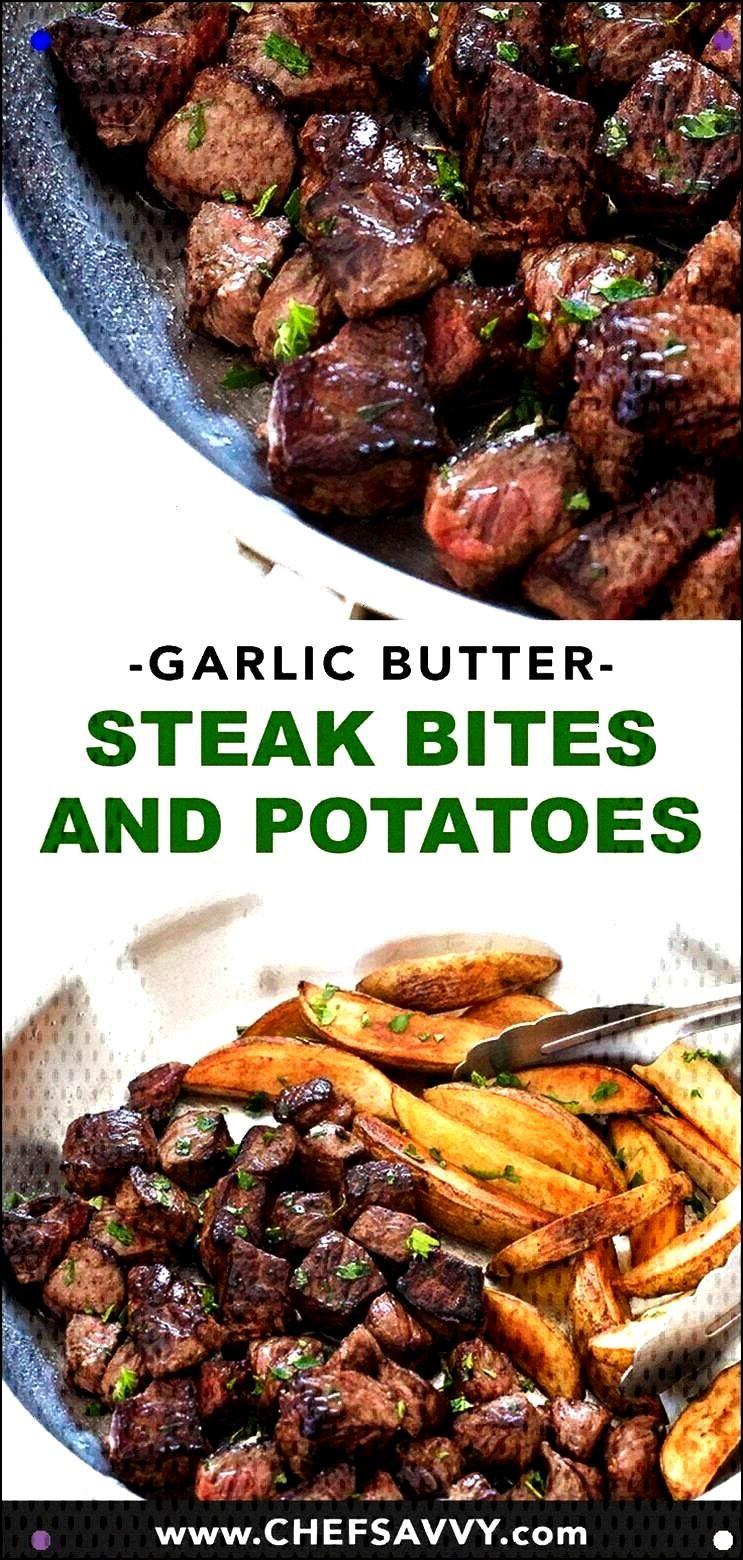 Butter Steak Bites And Potatoes. Delicate Strip Steak Seared In A Garlic Butter Sauce Alongside Cri