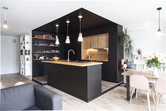 Plafond noir COUP DE \u003c3 MAISON Pinterest Kitchens, Dark