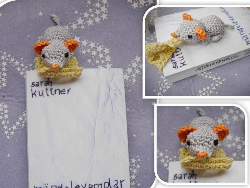 Lesezeichen Maus mit Käse Lesezeichen | Häkelanleitungen | Pinterest