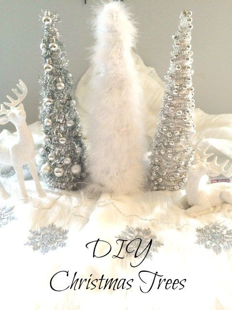 Diy Sparkly Silver And White Faux Fur Christmas Trees Out Of Paper Mache Cones These Christma Christmas Decor Diy Christmas Decorations Christmas Centerpieces