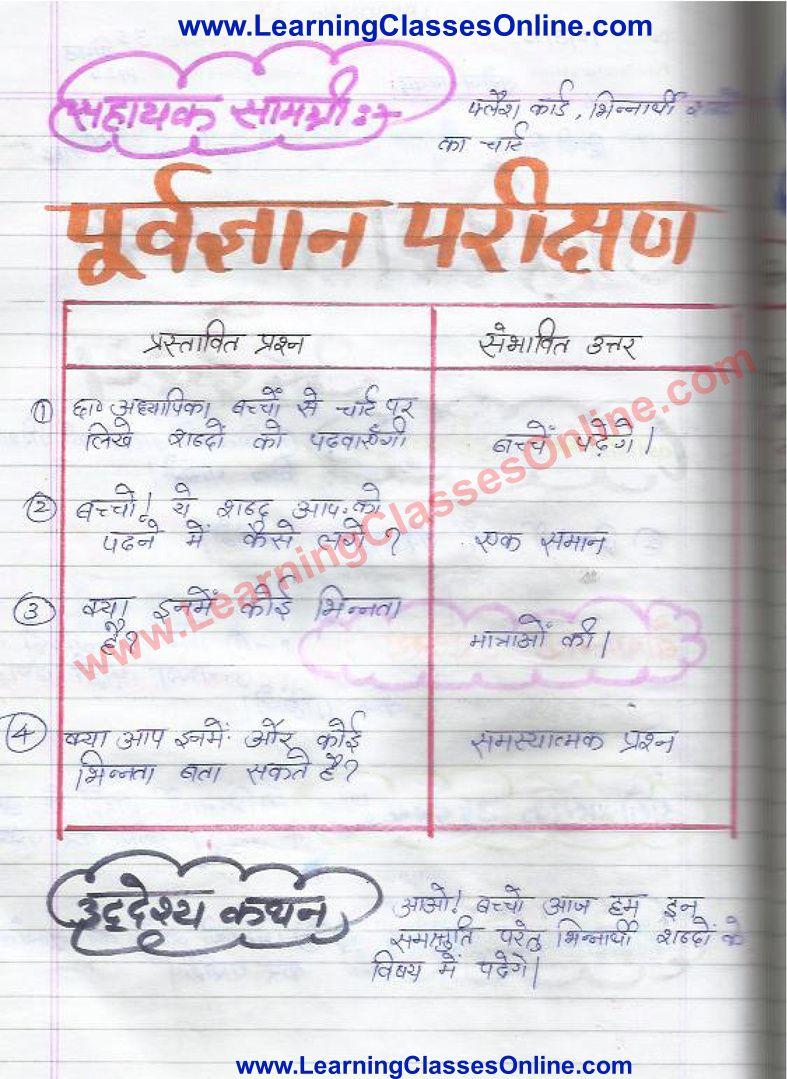 Lesson Plan Of Hindi On Samshruti Bhinarthak Shabd For Class 6th Grammar Lesson Plans Lesson Plan Format Lesson [ 1079 x 787 Pixel ]