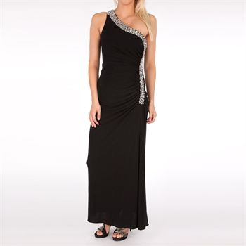 Betsy & Adam One-Shoulder Gown with Sequined Trim | from Von Maur ...
