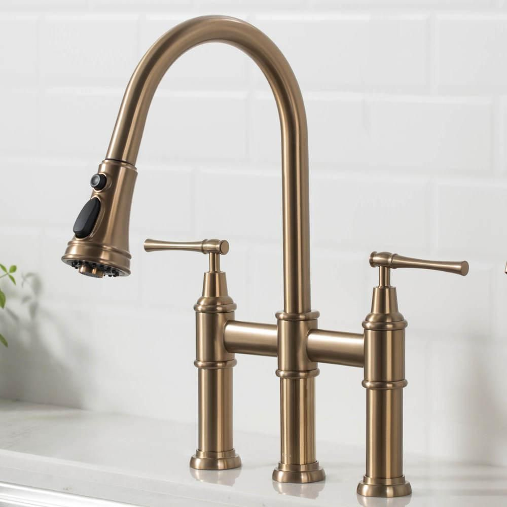 Kraus Allyn Transitional 2 Handle Bridge Kitchen Faucet With Pull Down Sprayhead In Brushed Gold Kpf 3121bg The Home Depot In 2021 Kitchen Faucet Faucet Gold Faucet