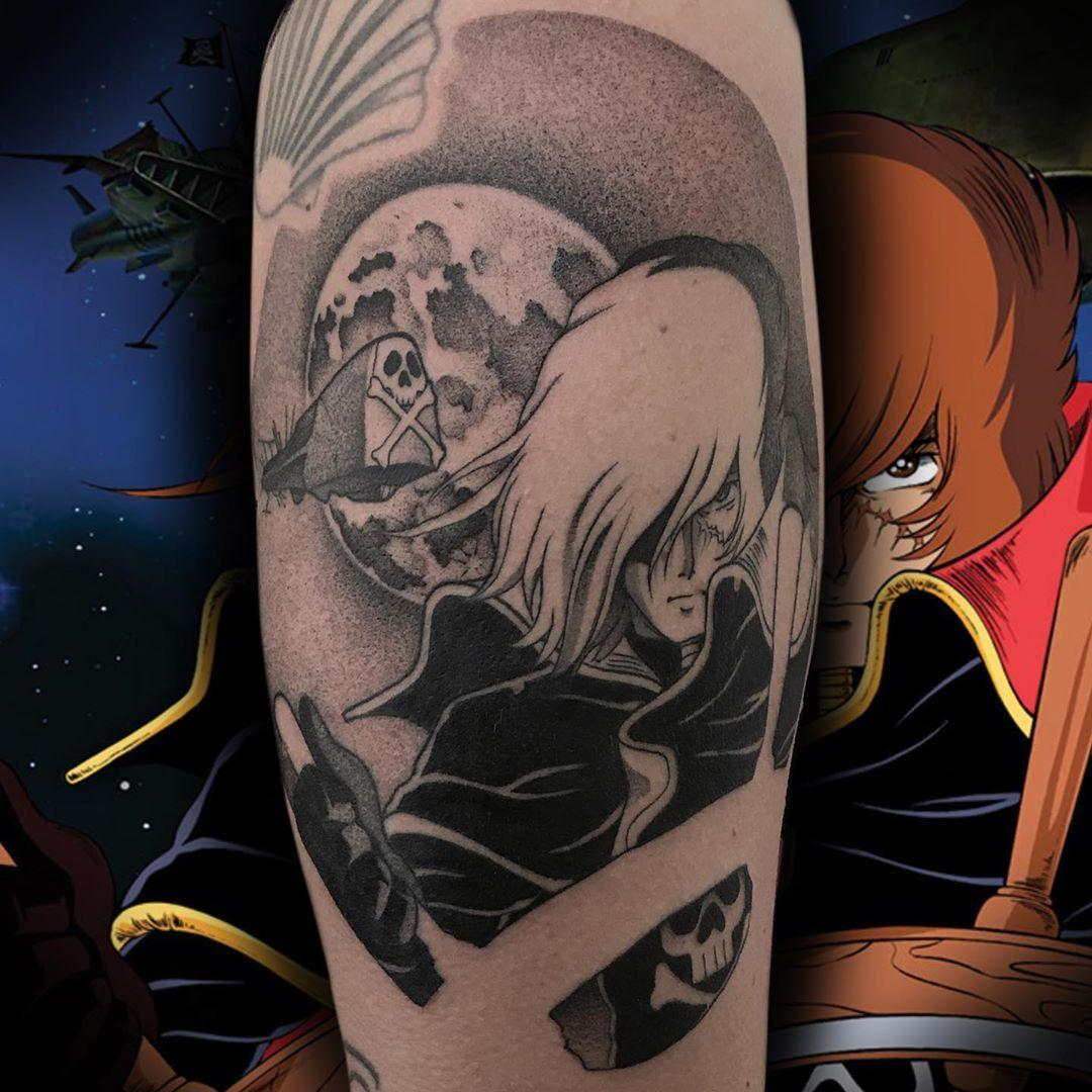 #tattoo #cartoontattoo #blackandgreytattoo #capitanharlock #capitanharlocktattoo #anime #animetattoo