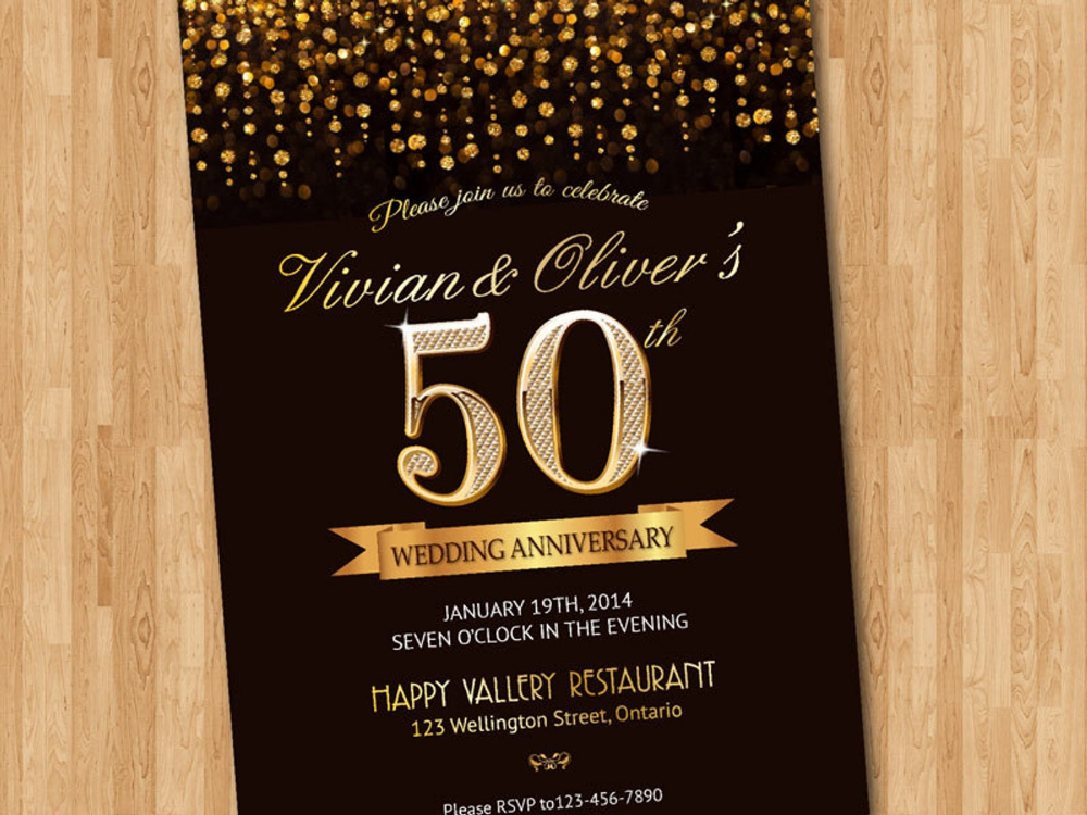 50th Wedding Anniversay Gold glitter background. 50th Gold wedding anniversary invite. Printable DIY invitations #goldglitterbackground