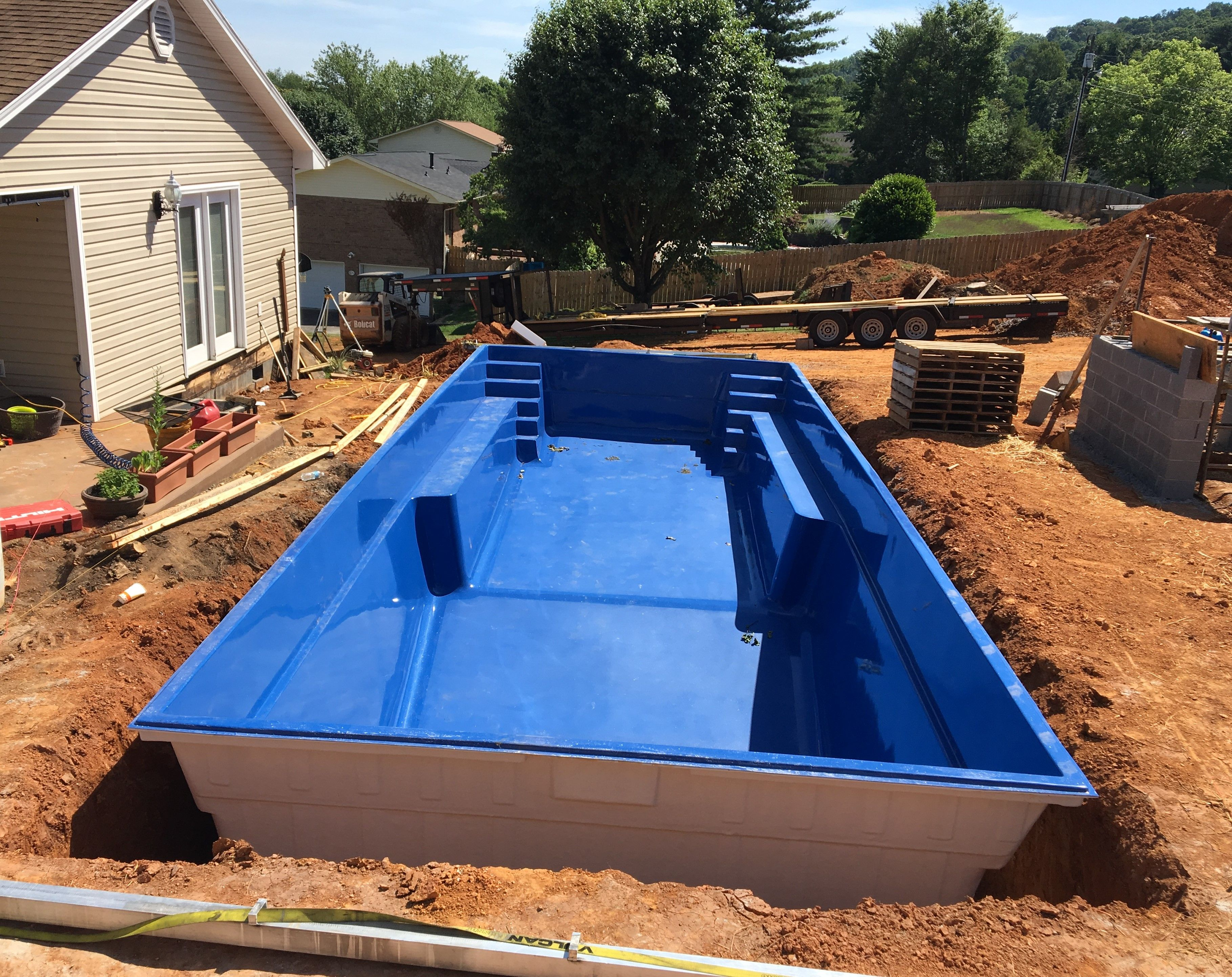 The Very First Leisure Pools Infinity Design Has Been Delivered And Was Ready To Be Set Into Its New Home But Her Swimming Pools Backyard Leisure Pools Pool