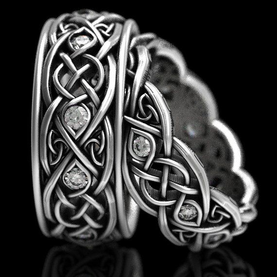 Infinity Wedding Band Set With Moissanites 925 Sterling