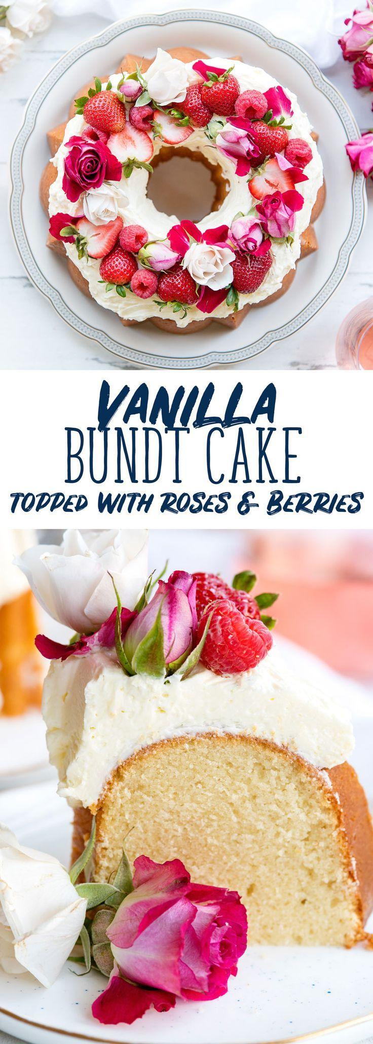 Vanille-Bundt-Kuchen mit Rosewater Buttercream Frosting & Flowers Vanille-Bundt-Kuchen mit Rosewater Buttercream Frosting & Flowers -
