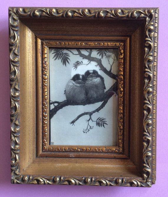 Wanddecoratie 1920-1930 lithografie twee vogels op een tak door Henri Verstijnen.