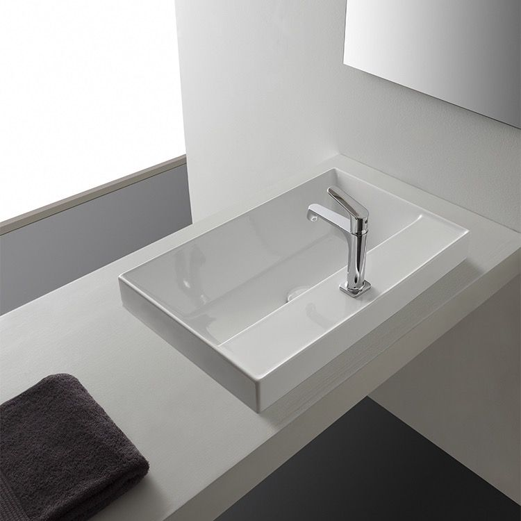 Rectangular White Ceramic Drop In Sink Square Bathroom Sink