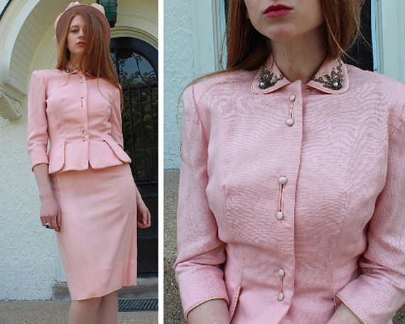 60s Pink Suit Vintage Women s 2 Piece DRESS SUIT Beaded Jacket Sweetheart  Neck Shell HOURGLASS Silhouette Small Size Midi Spring Weddings by  HarlowGirls on ... 9c43825b97