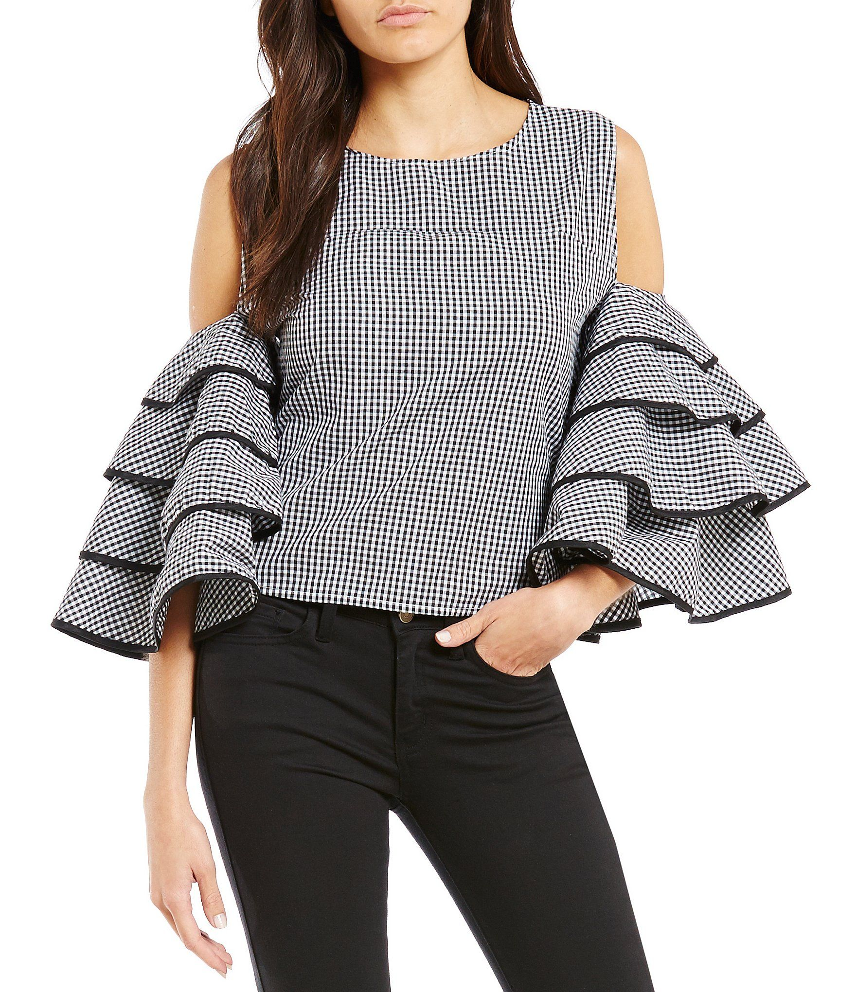 Gianni Bini Lexi Tiered Sleeve Blouse Dillards Cold Shoulder Tops