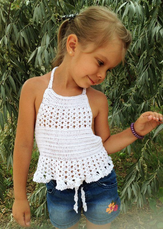 Crochet toddler top White crop top Open back halter top Crochet baby toddler outfit Beach clothing child Boho wrap lace top Hippie kids top