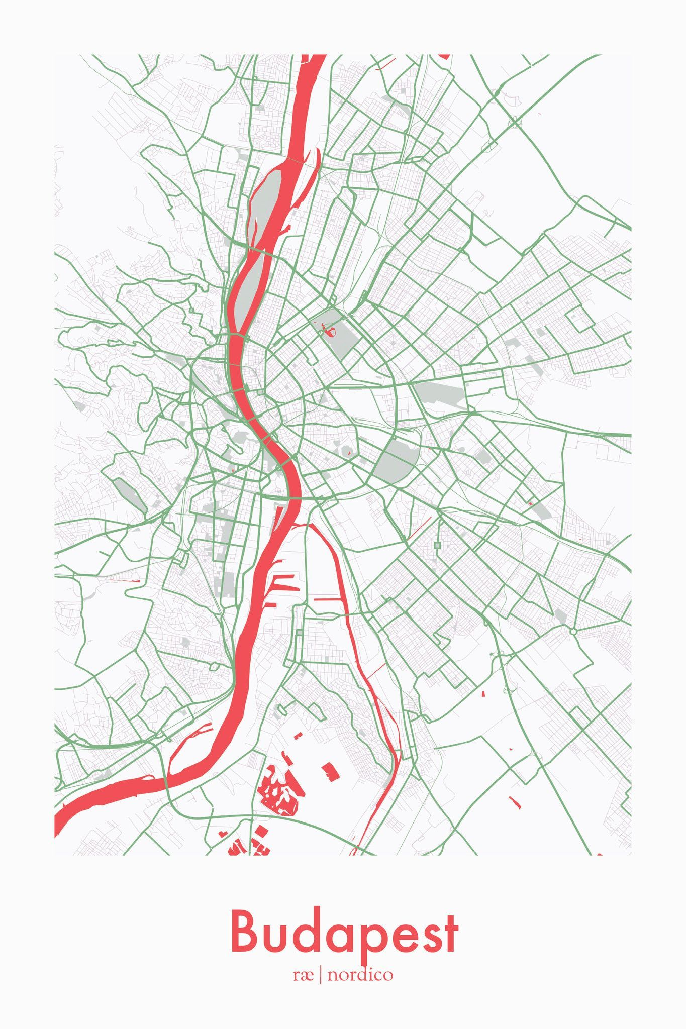 Budapest, Hungary Map Print | Country