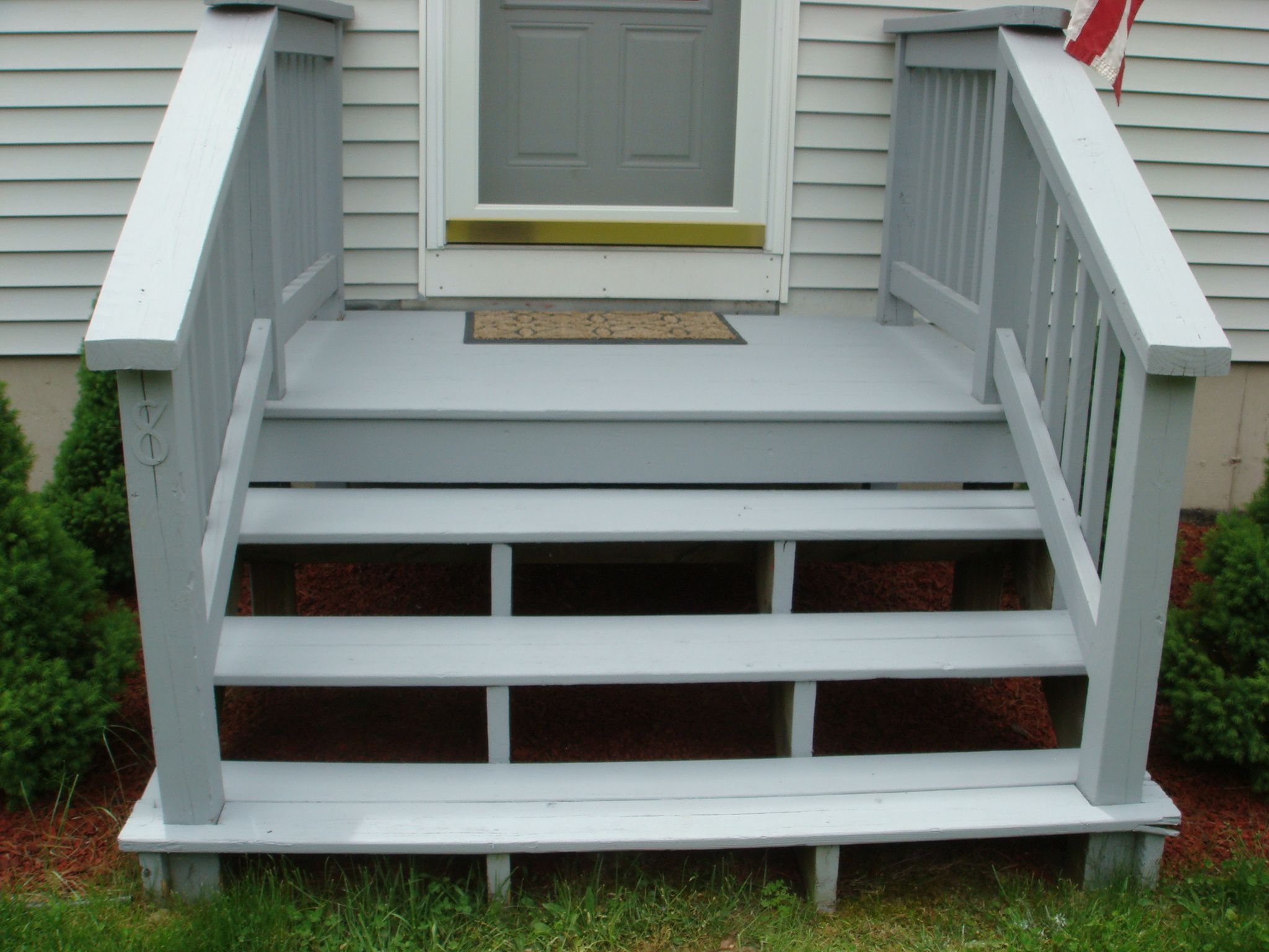 Wooden front steps google search house ideas for Front step designs wood