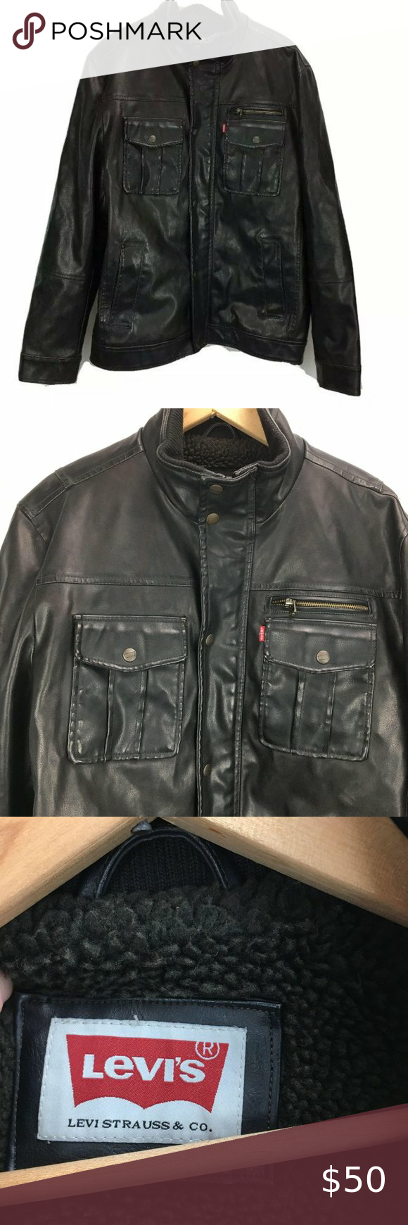 Levis' Faux Leather Jacket Men's L Brown Sherpa in 2020