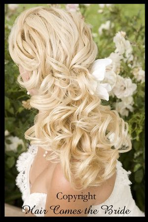 Long curly hair for bride