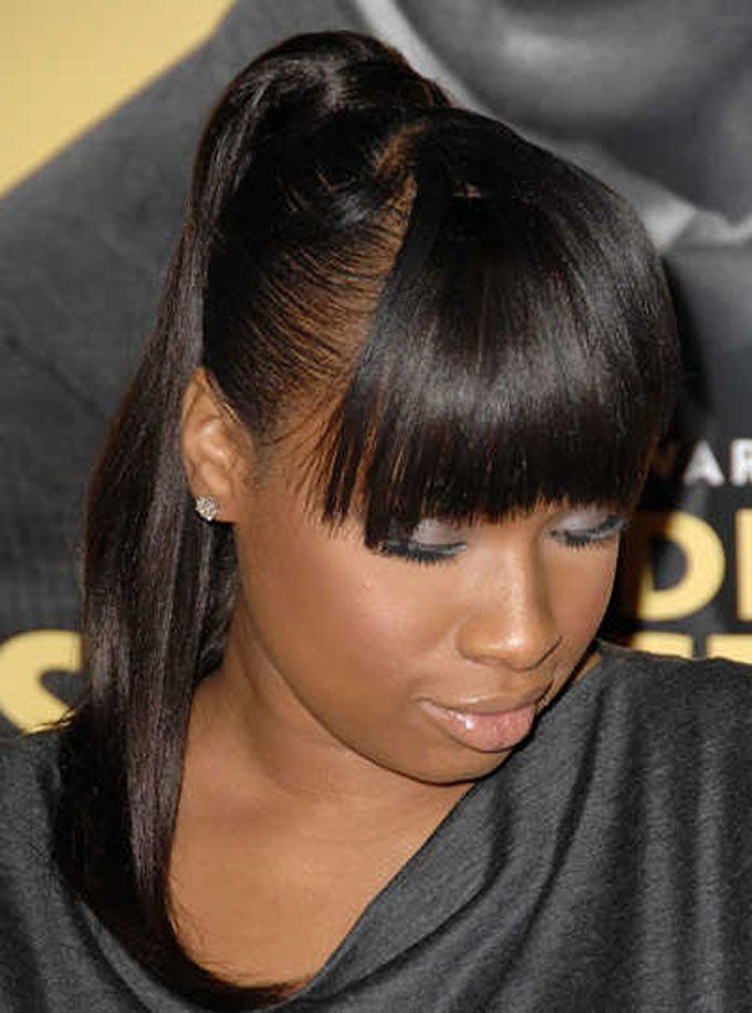 Ponytail Hairstyles for Black Women with Bangs