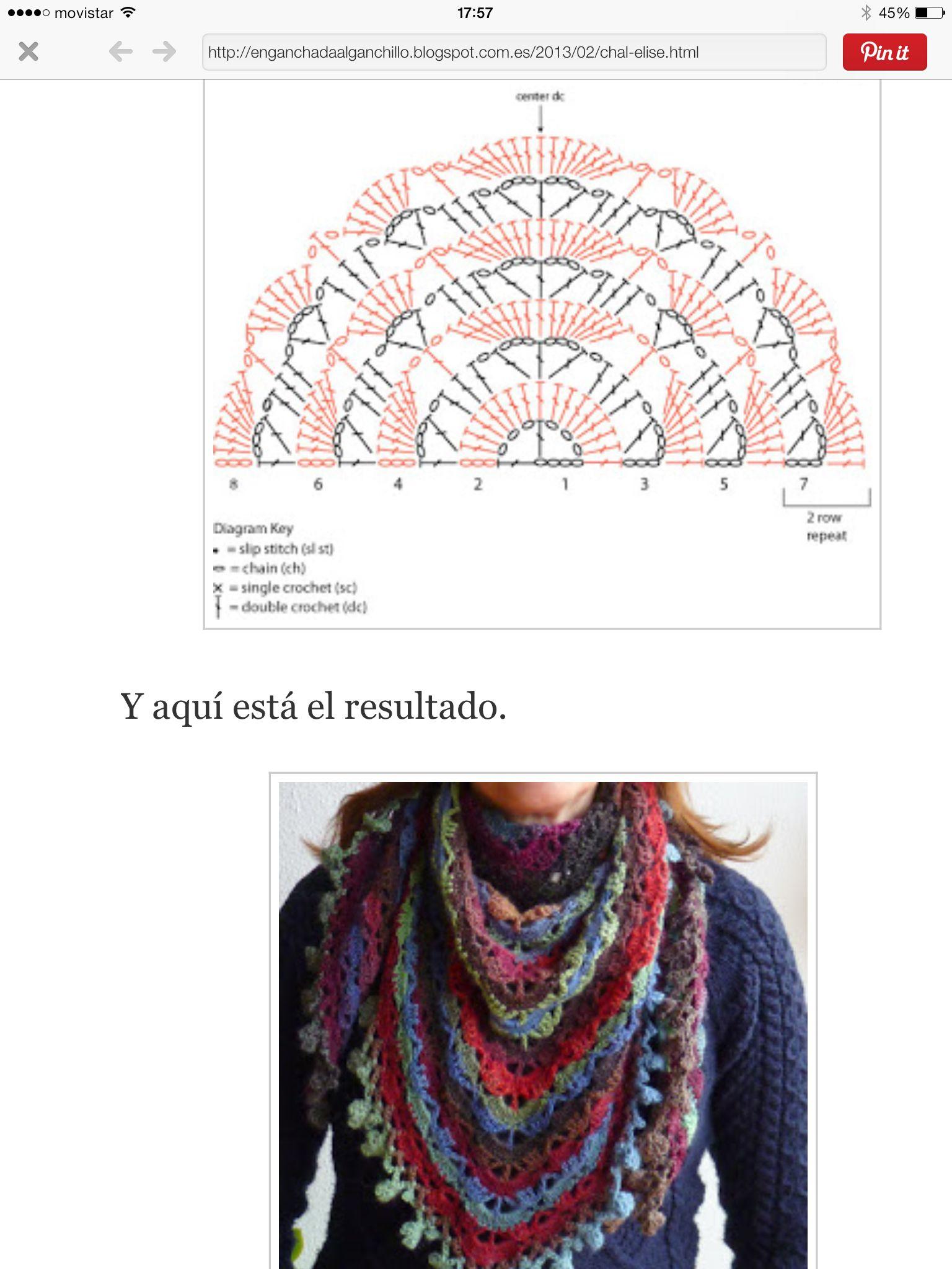Pañuelo/chal/triangulo crochet | Crochet: Cowls, shawls, wraps ...