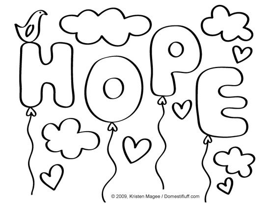 Hope Awareness Ribbon Adult Coloring Book