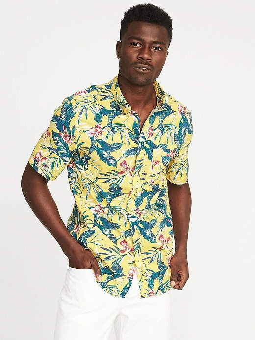 9f88197c62c Old Navy Slim-Fit Printed Built-In Flex Getaway Shirt for Men. Find this  Pin and more on Black Male Clothing by Captain O. Tags. Mens Hawaiian Shirts