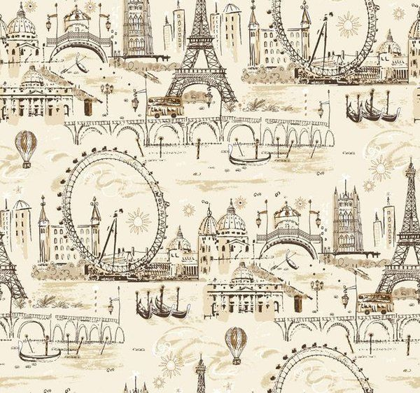 Fun Vintage European City Scenes Wallpaper This Might Be For A Craft Room As Well
