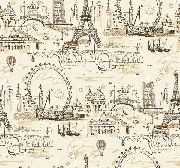 Fun Vintage European City Scenes Wallpaper BL0437 Double Roll Bolts
