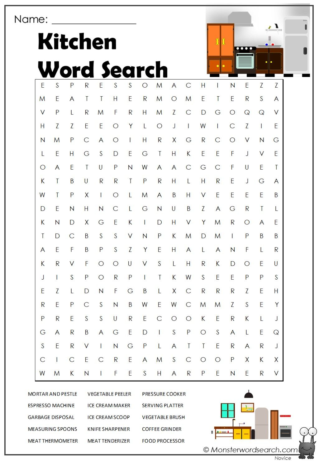 Kitchen Word Search In