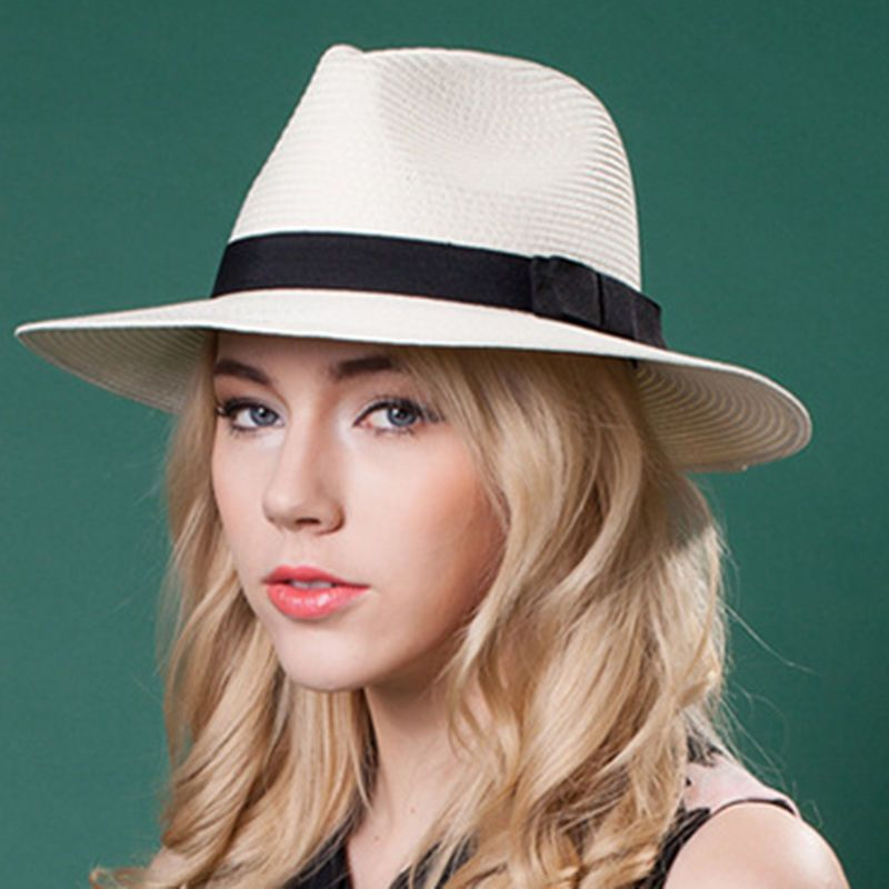 df3e6c167effd Women Straw Wide Brim Panama Hat For Queen Lady Summer Fedora Beach Sun Hat